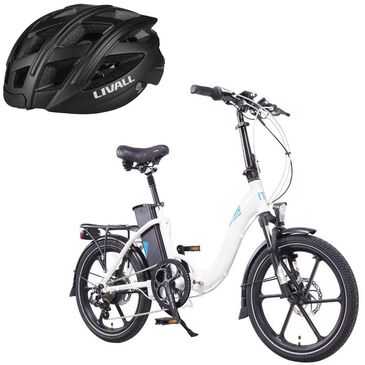 Magnum Premium Electric Low Step Folding in White + (Free) Livall Smart Bluetooth Bicycle Helmet in Black, , large