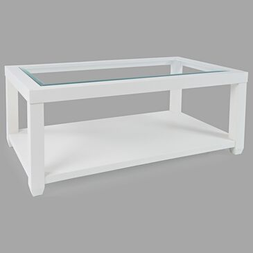 Waltham Urban Icon Rectangular Cocktail Table in Polished White, , large