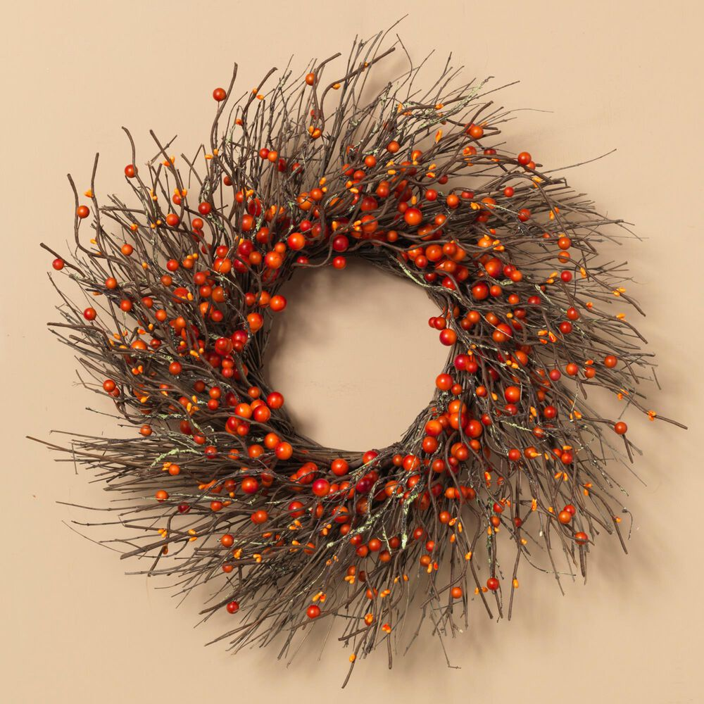 The Gerson Company Twig and Fall Berries Wreath in Brown, , large
