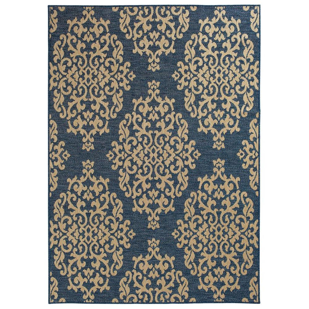 """Trisha Yearwood Rug Collection Gather Temptation TYWD 5""""3"""" x 7""""7"""" Cobalt and Natural Outdoor Rug, , large"""