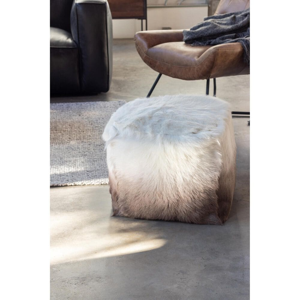 Moe's Home Collection Goat Fur Pouf in Cappuccino Ombre, , large