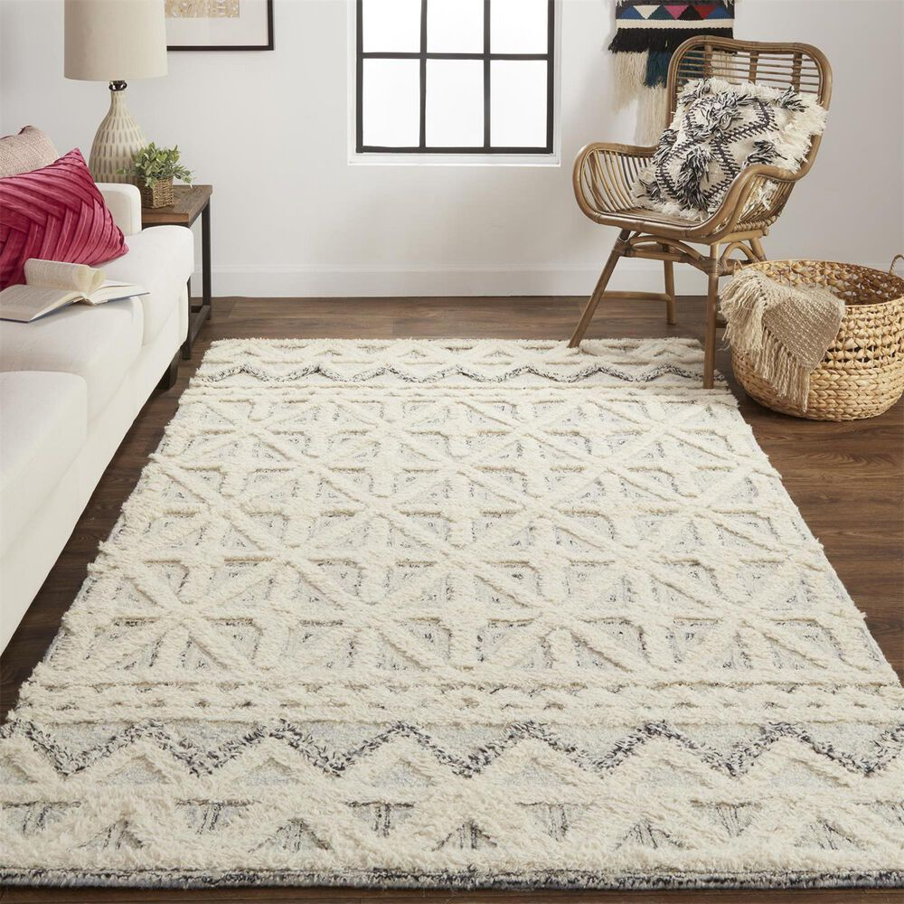 Feizy Rugs Anica 8007F 4' x 6' Blue and Ivory Area Rug, , large