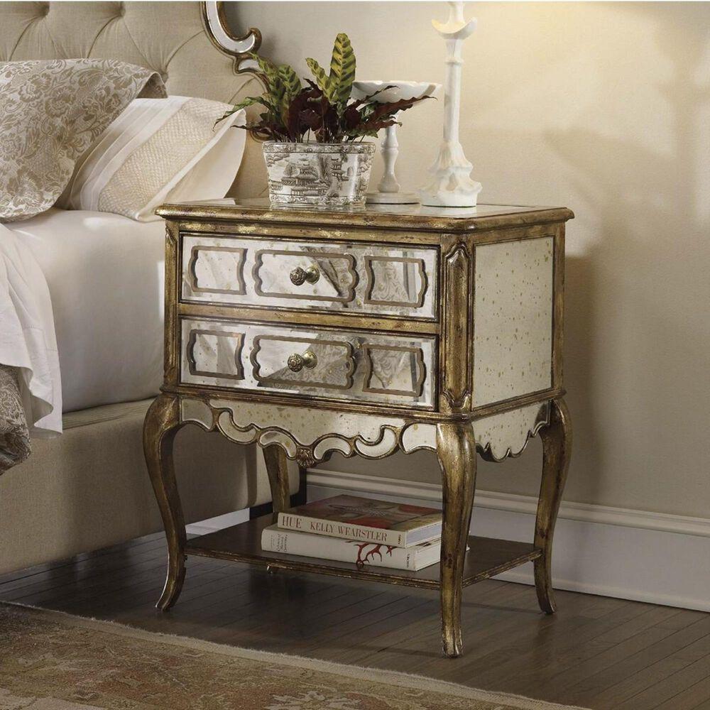 Hooker Furniture Sanctuary 2-Drawer Mirrored Leg Nightstand in Bling, , large