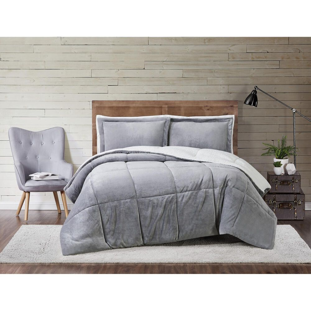 Pem America Truly Soft Cuddle Warmth 3-Piece Full/Queen Comforter Set in Grey, , large