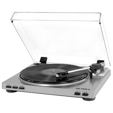 Victrola Pro USB Record Player with 2-Speed Turntable and Dust Cover in Silver, , large