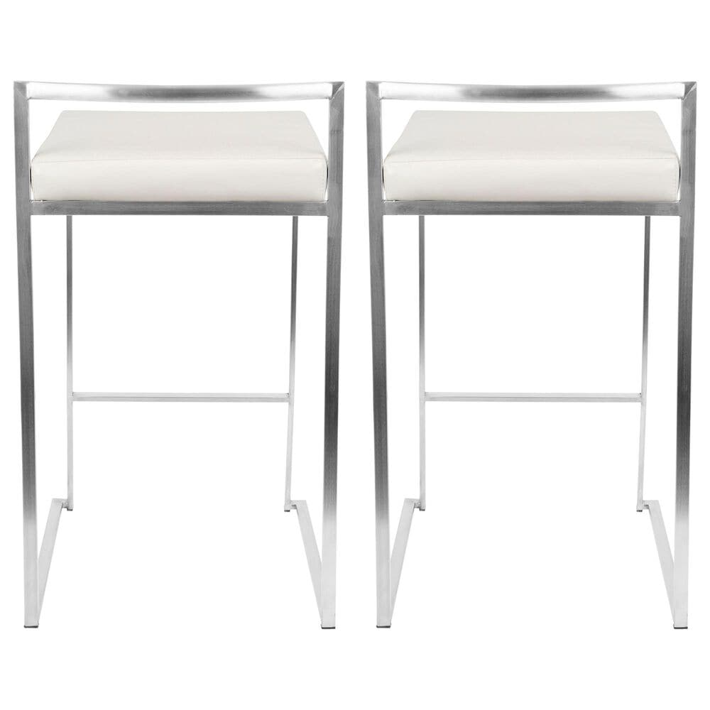 Lumisource Fuji Stackable Counter Stool in White/Stainless Steel (Set of 2), , large