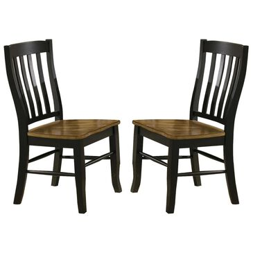 Bakersfield Quails Run Rake Back Side Chairs Two-Toned in Almond/Ebony - Set of 2, , large