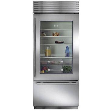 """Sub Zero 36"""" Wide Built-in Glass Door Bottom Freezer Refrigerator (Pro Handle), , large"""