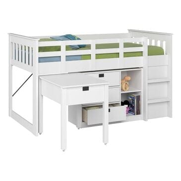CorLiving Madison Twin Loft Bed with Desk and Storage in Snow White, , large