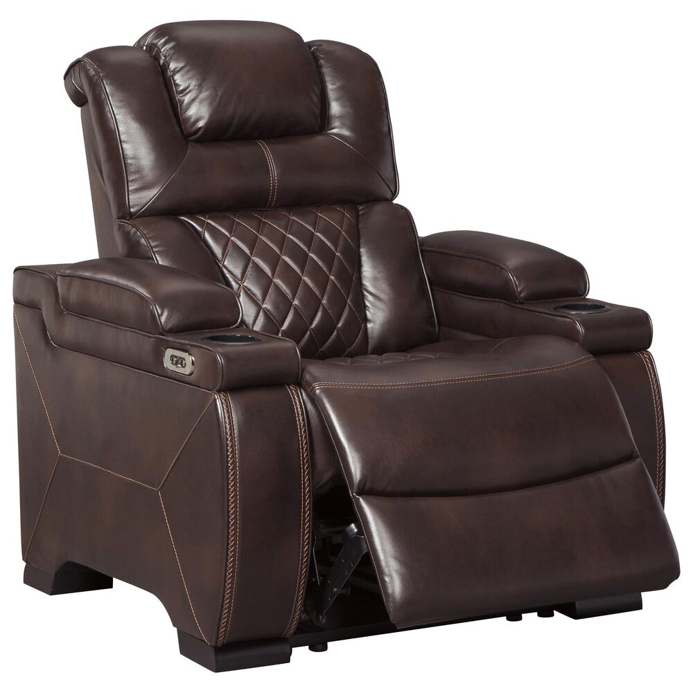 Signature Design by Ashley Warnerton Power Recliner with Adjustable Headrest in Chocolate, , large