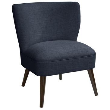 Skyline Furniture Curved Armless Chair in Linen Navy, , large
