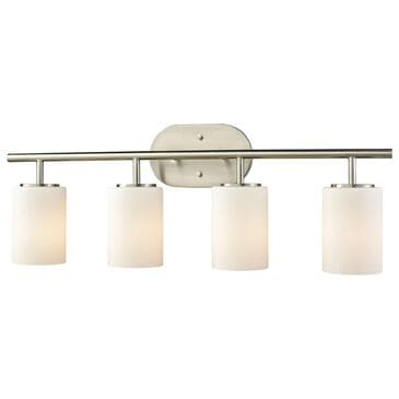 Stein World Pemlico 4-Light Vanity In Satin Nickel With White Glass, , large