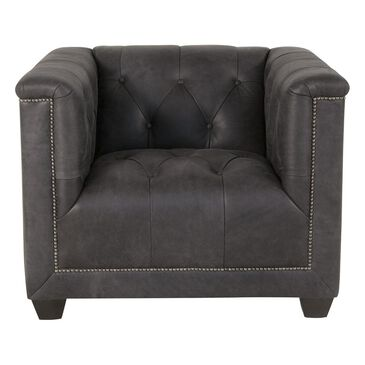 Bernhardt Leather Chair in High Cotton Coal, , large