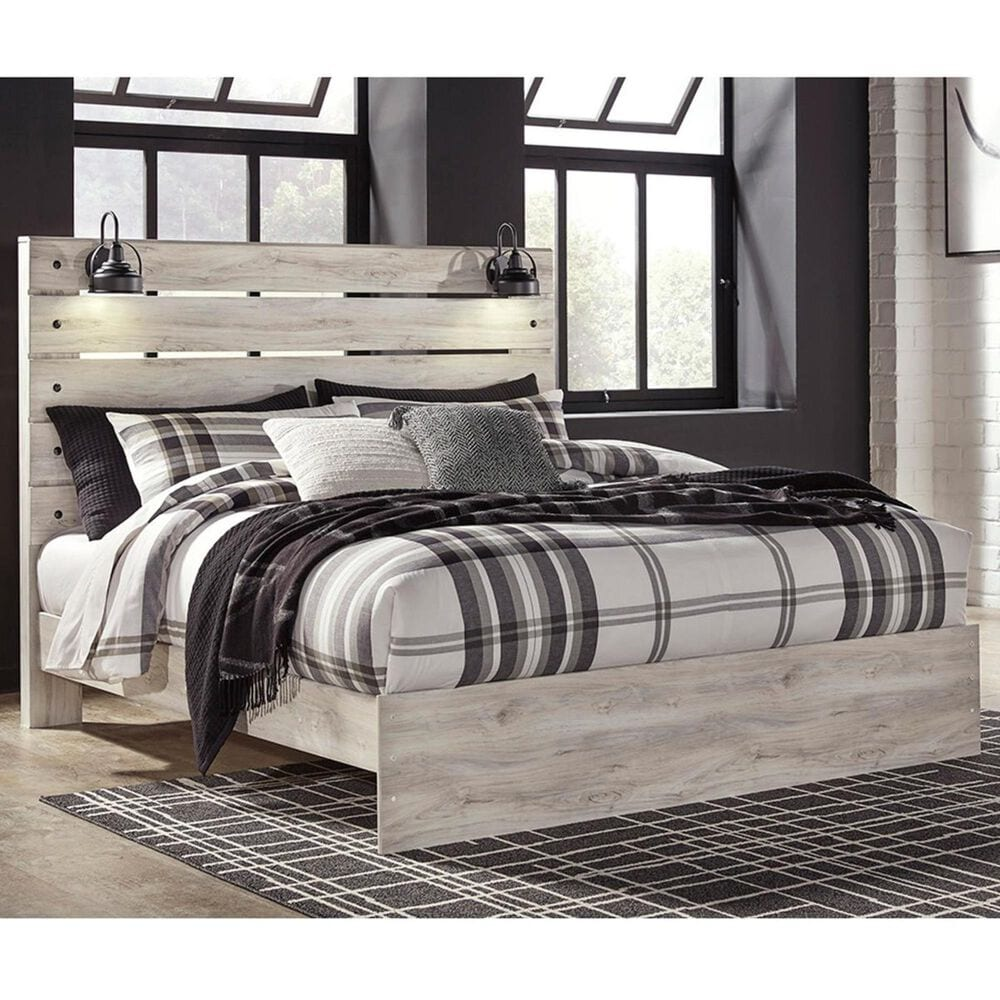 Signature Design by Ashley Cambeck King Panel Bed in Whitewash with Lighting, , large