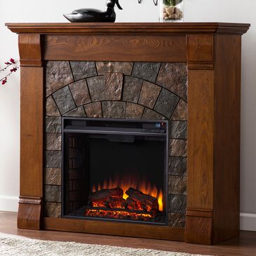 Southern Enterprises Andco Electric Fireplace in Salem Ant Oak/Dark Earth Toned Tiles, , large