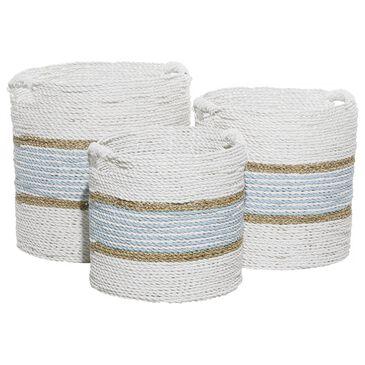 Maple and Jade Coastal Wood Storage Basket White with Light Blue Stripe Set of 3, , large