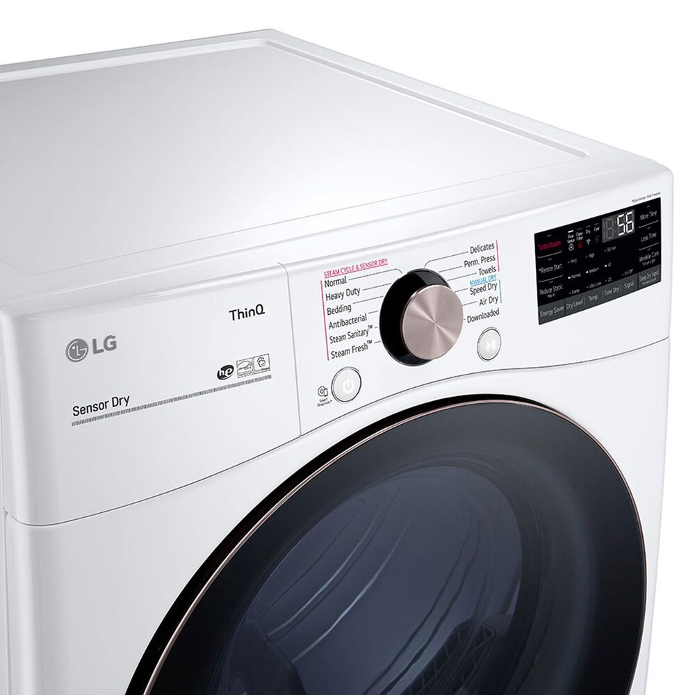LG 7.4 Cu. Ft. Front Load Electric Dryer with TurboSteam in White, , large