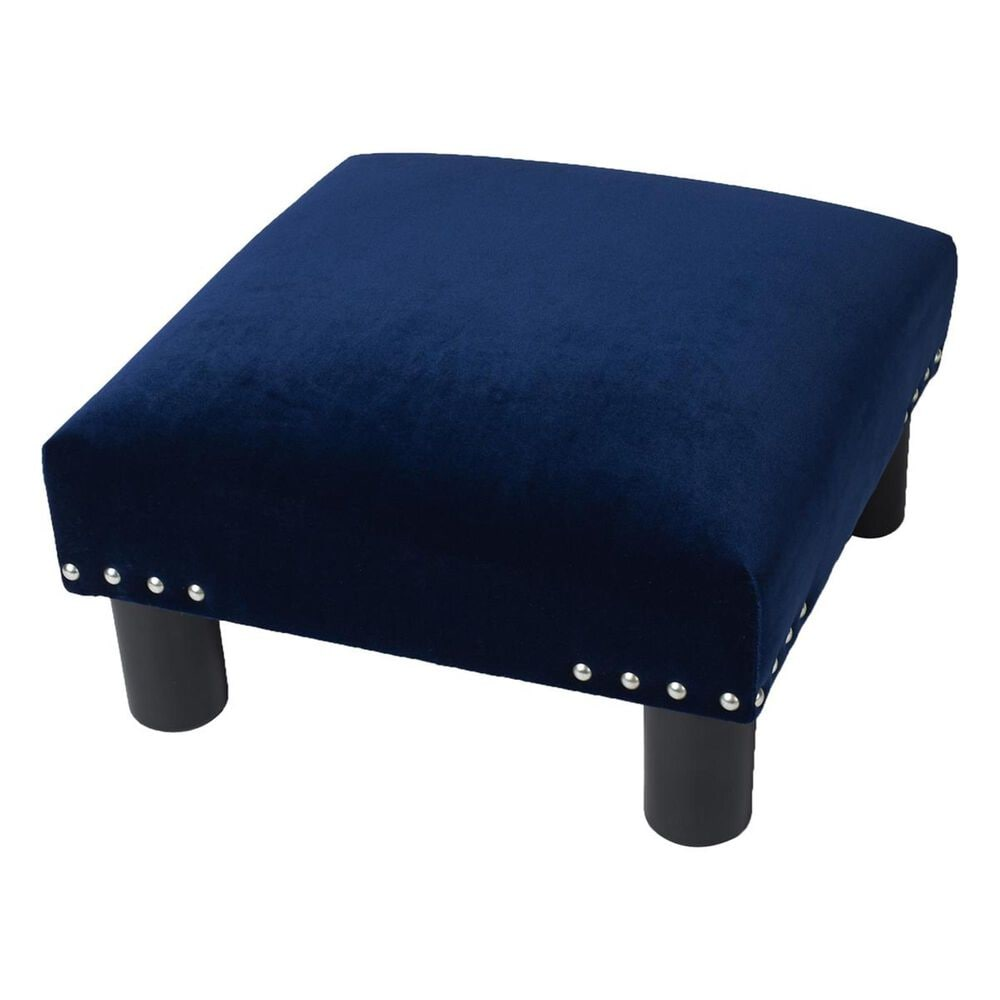 Jennifer Taylor Home Jules Square Accent Footstool Ottoman in Navy Blue, , large