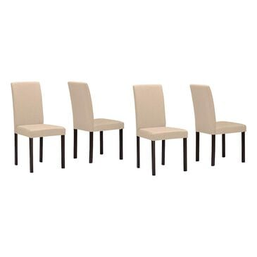 Baxton Studio Andrew Dining Chairs with Beige Seat in Espresso - Set of 4, , large