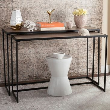 Safavieh Garin Stacking Console Table Set in Light Oak and Black, , large