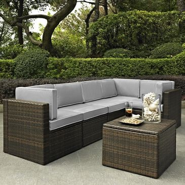 Firefly Palm Harbor 6-Piece Outdoor Wicker Sectional with Grey Cushions, , large