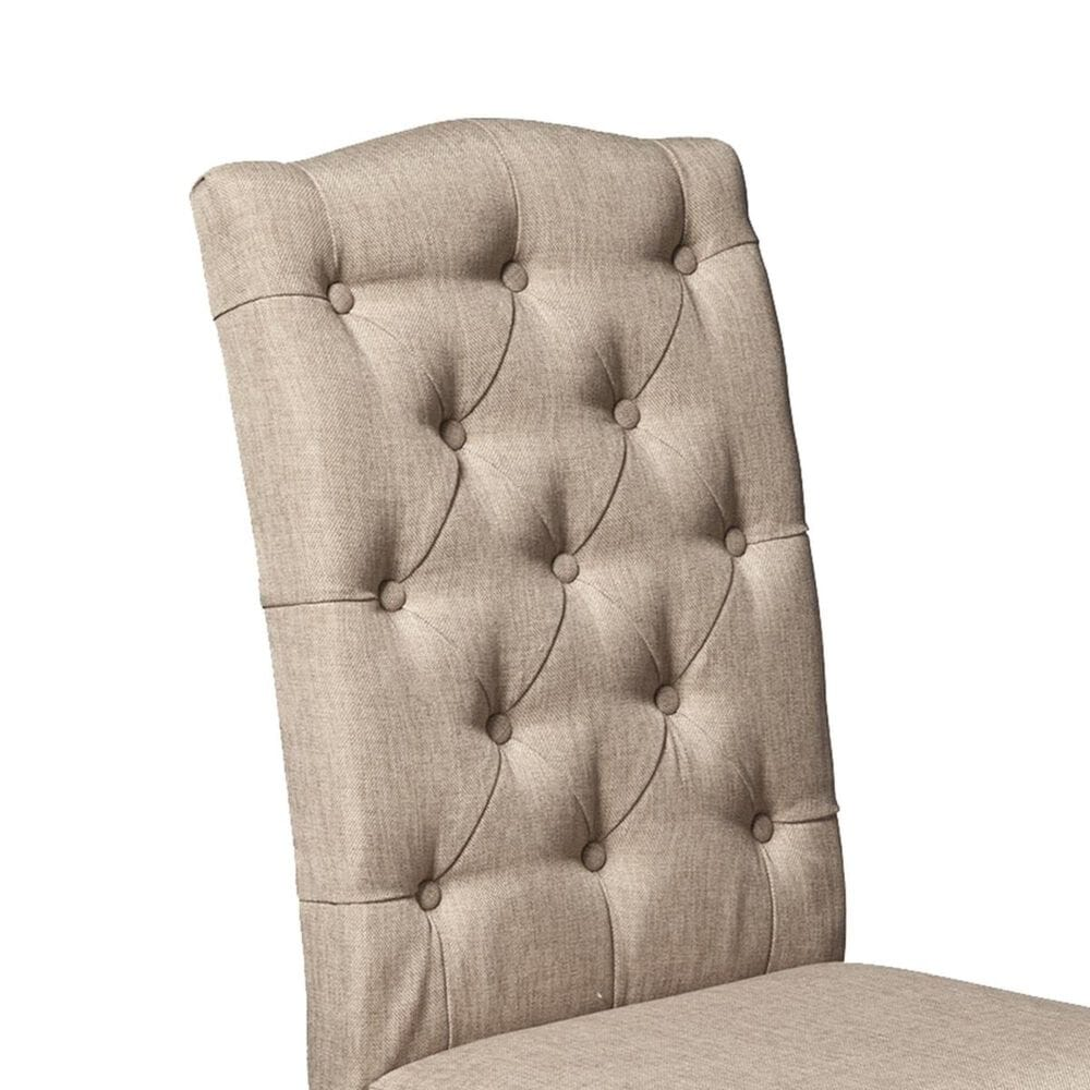 Alpine Furniture Newberry Parson Chair with Salvaged Grey Legs in Beige - Set of 2, , large