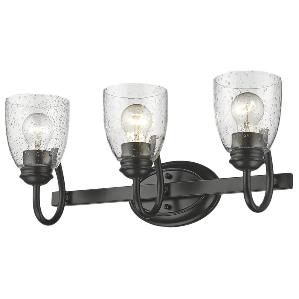 Golden Lighting Parrish 3-Light Bath Vanity in Black with Seeded Glass, , large