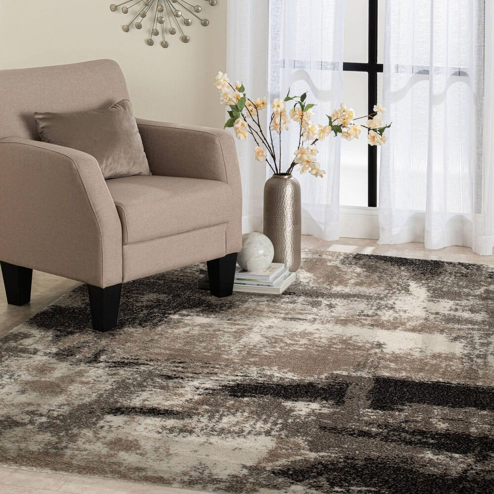 Central Oriental Tulsa Brunsville 9849CES 8' x 10' White Sand and Armor Grey Area Rug, , large