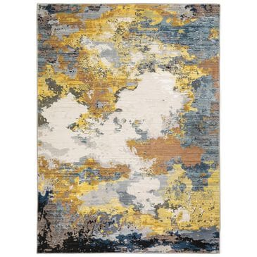 """Oriental Weavers Caravan Clouds Prevail 5'3"""" x 7'6"""" Yellow and Blue Area Rug, , large"""
