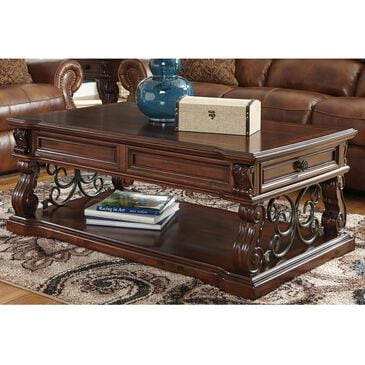 Signature Design by Ashley Alymere Lift Top Cocktail Table in Rustic Brown, , large