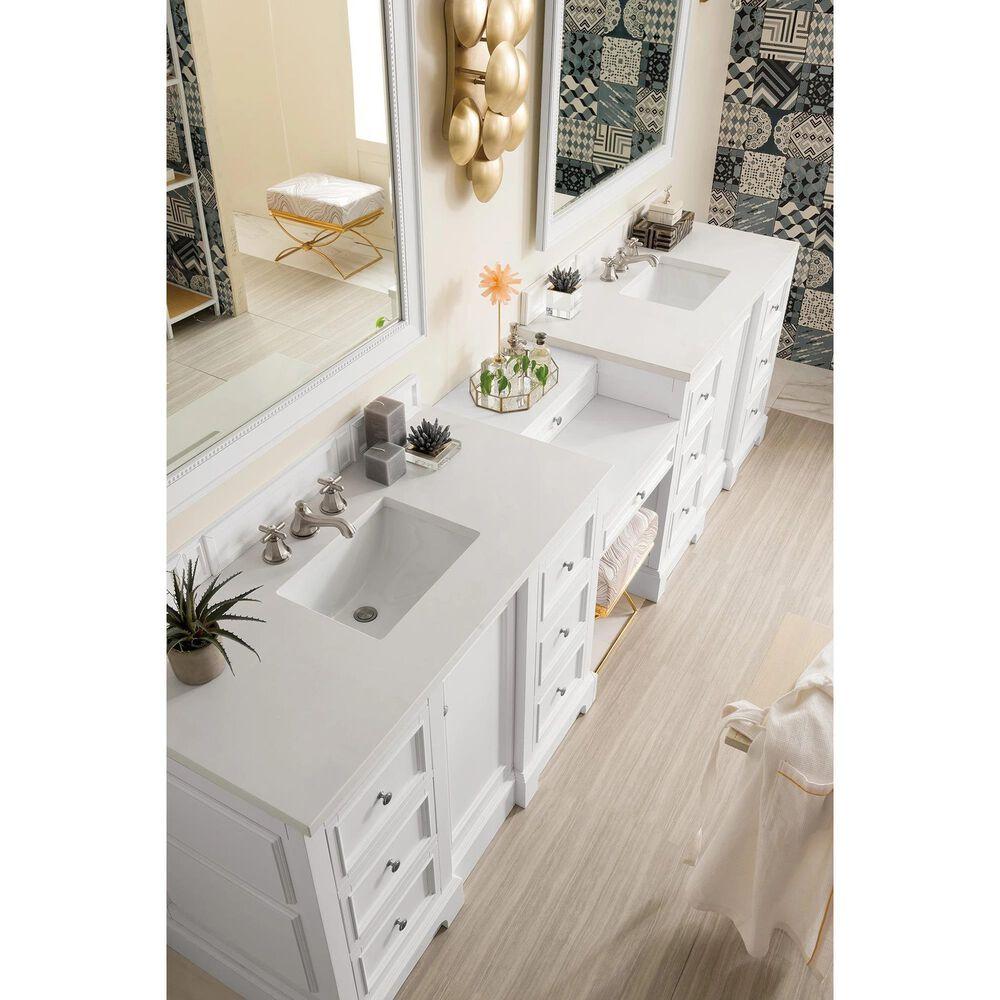 James Martin De Soto 118 Double Bathroom Vanity In Bright White With 3 Cm Classic White Quartz Top Nebraska Furniture Mart