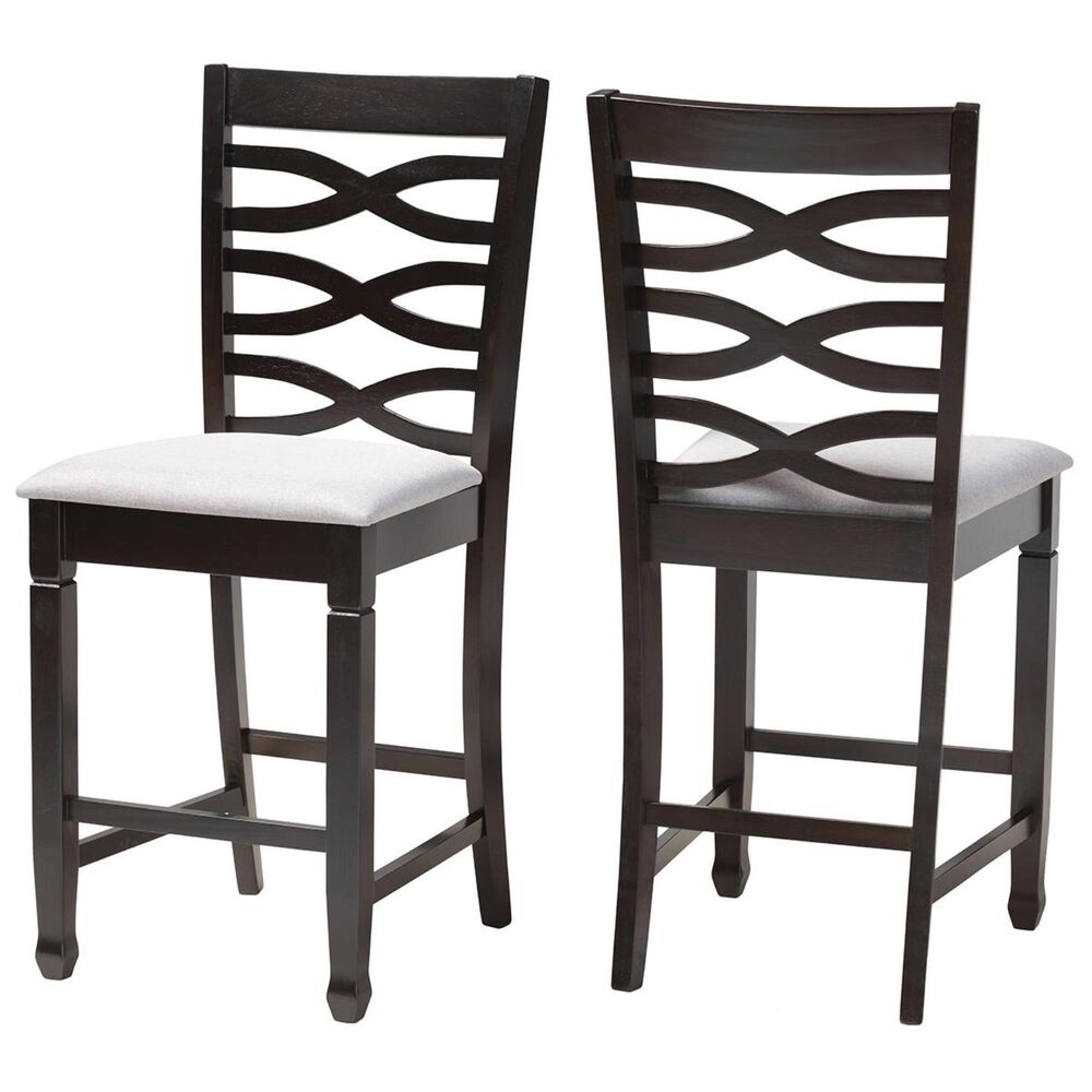 Baxton Studio Lanier Counter Height Chair in Gray and Espresso (Set of 2), , large