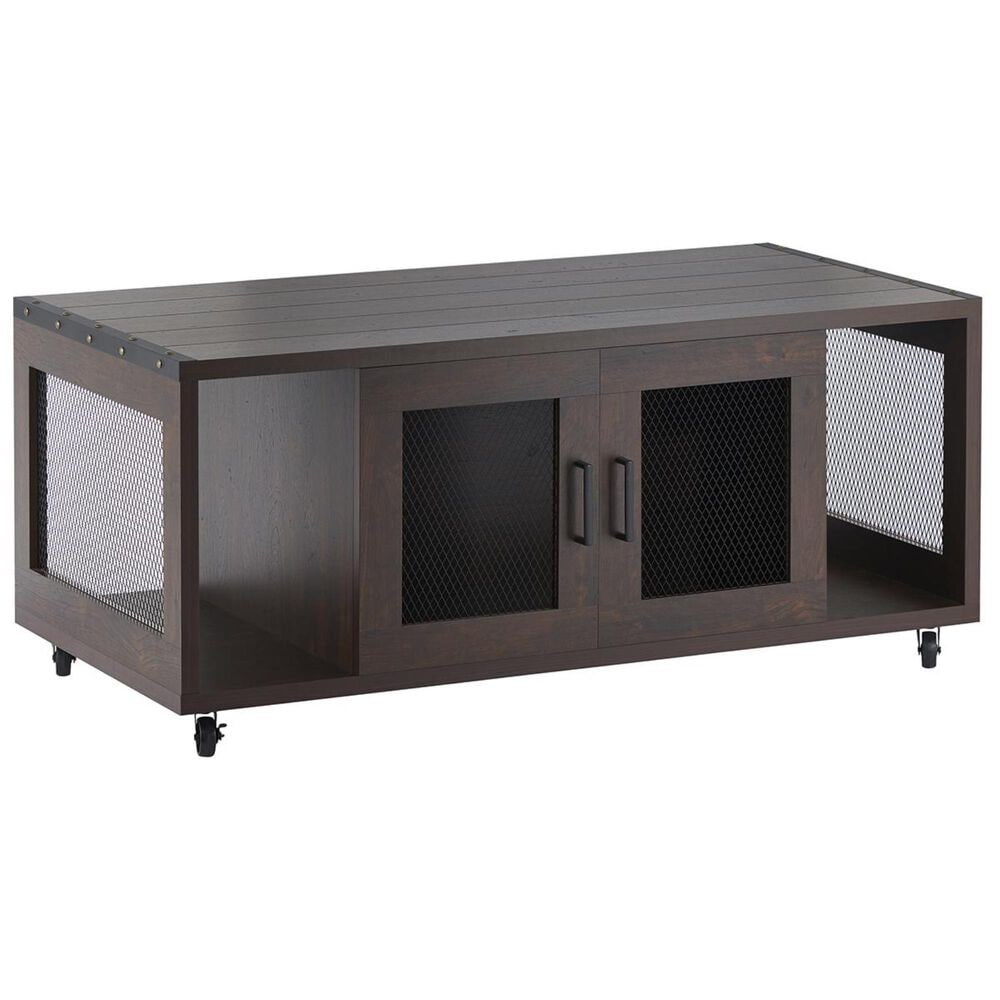 Furniture of America Janson Mobile Storage Coffee Table in Vintage Walnut, , large