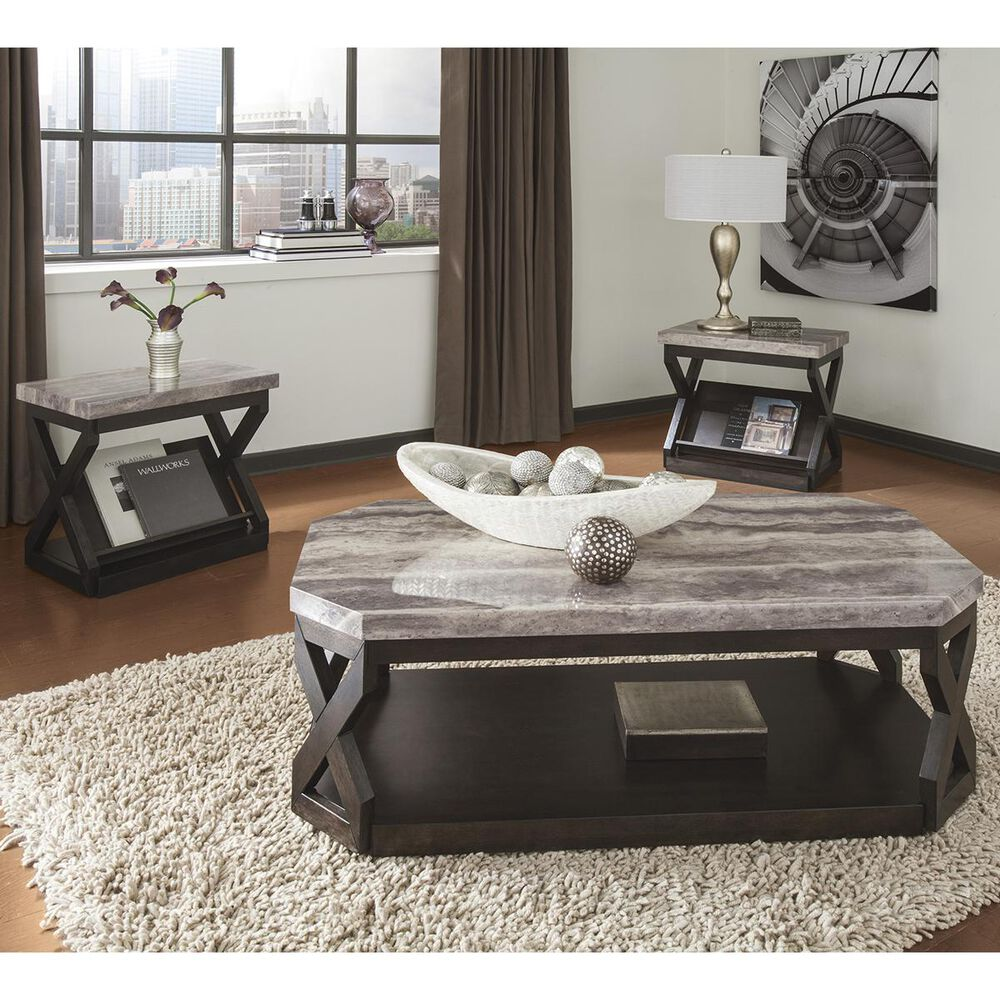 Signature Design by Ashley Radilyn 3-Piece Occasional Table Set in Grayish Brown, , large
