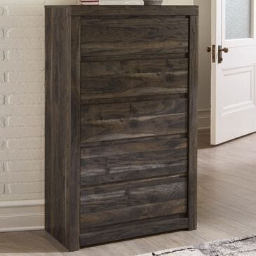 Signature Design by Ashley Vay Bay 5 Drawer Chest in Rustic Charcoal, , large