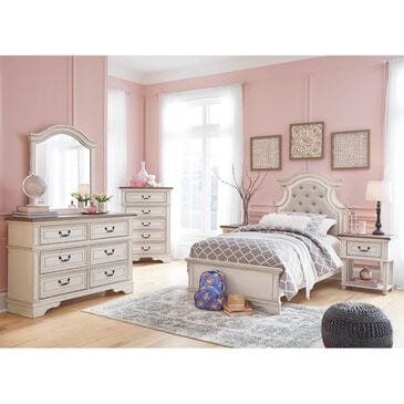Signature Design by Ashley Realyn 5 Piece Twin Bedroom Set in Chipped White, , large