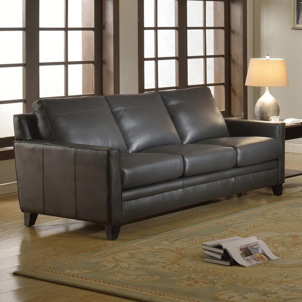 Italiano Furniture Fletcher Leather Sofa in Charcoal Gray, , large