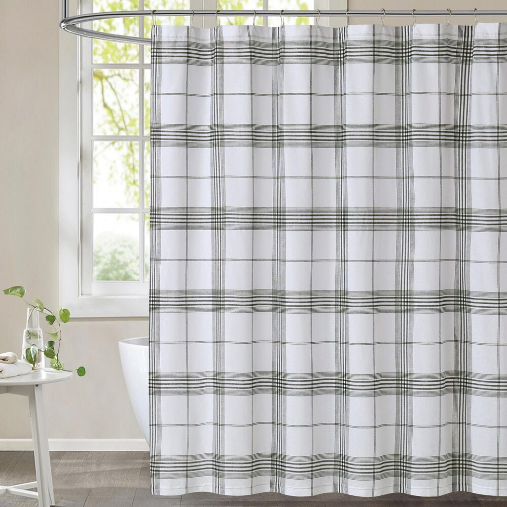 Pem America Cottage Classics Cottage Shower Curtain in White and Black, , large