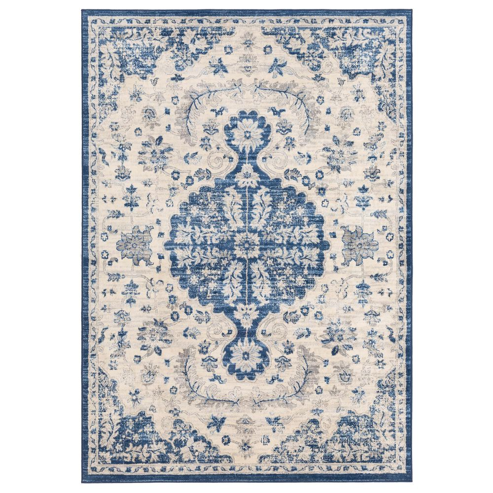 Surya Monaco MOC-2322 2' x 3' Navy, Cream and Silver Gray Scatter Rug, , large