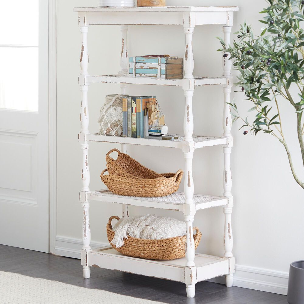 """Maple and Jade 55"""" Farmhouse Wood Shelving Unit in White, , large"""