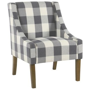 Kinfine Modern Swoop Accent Chair in Blue Plaid, , large