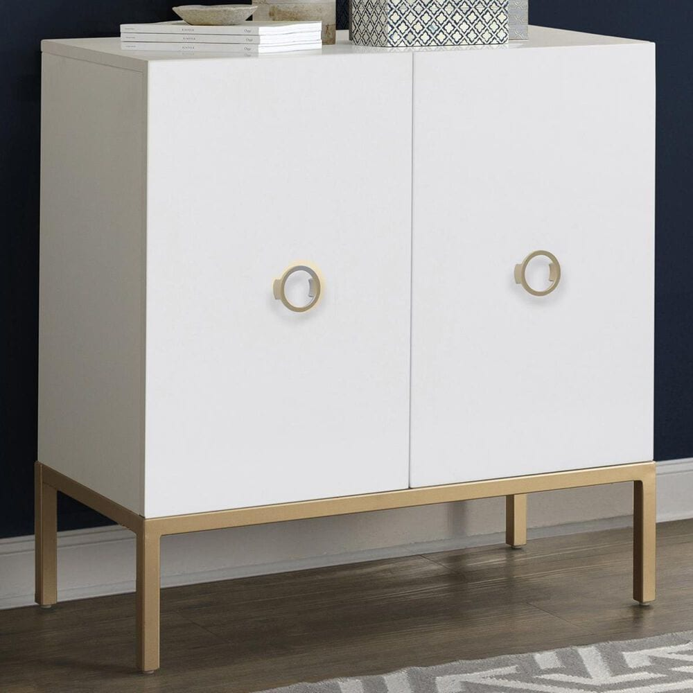Accentric Approach Accentric Accents Accent Door Cabinet in Crisp White and Gold, , large