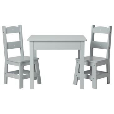 Melissa & Doug Wooden Table and 2 Chairs Set in Gray, , large