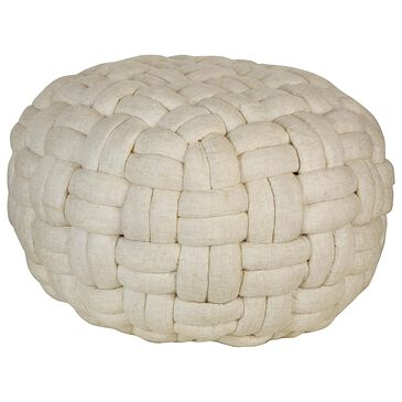 Moe's Home Collection Bronya Pouf Vanilla in White, , large