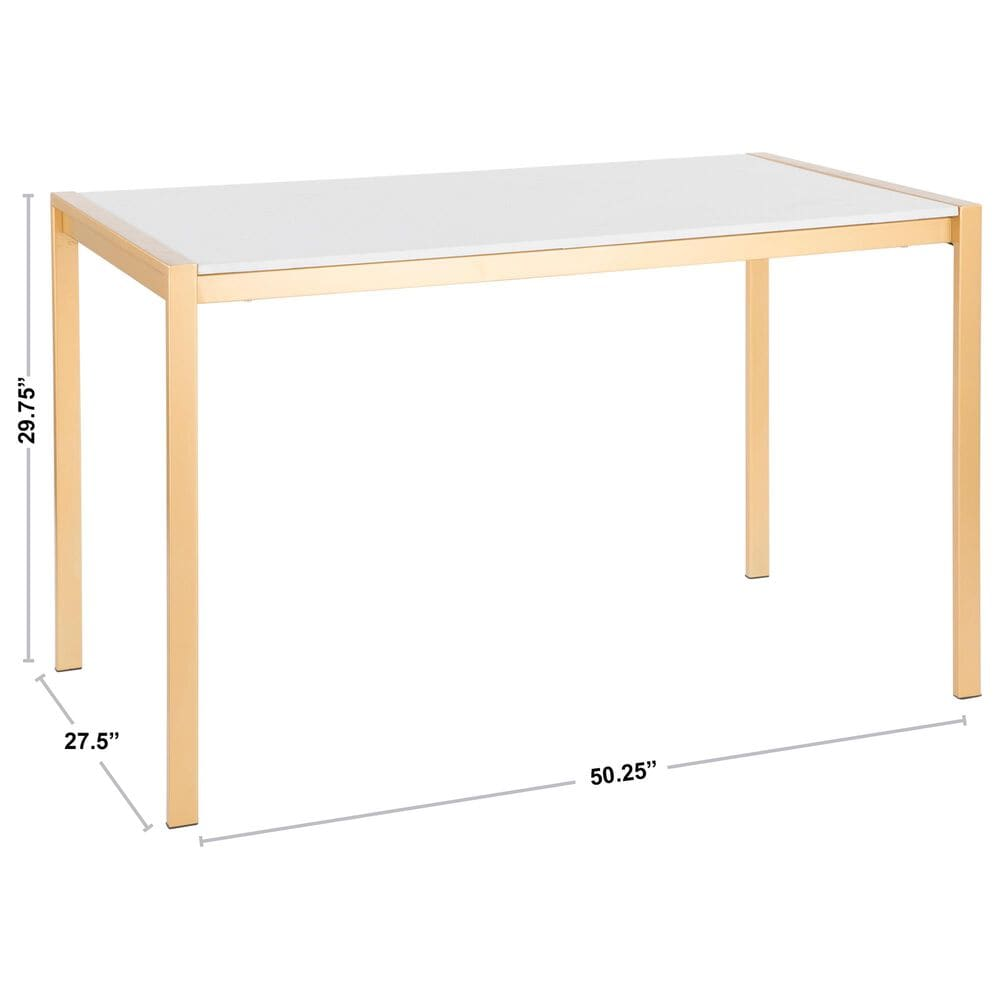 Lumisource Fuji Dining Table in White/Gold, , large