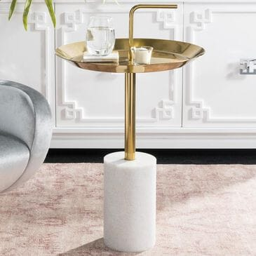 Safavieh Apollo Round Side Table in Brass and Marble, , large