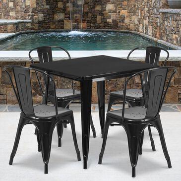 Flash Furniture 5-Piece Metal Square Table Set in Black, , large