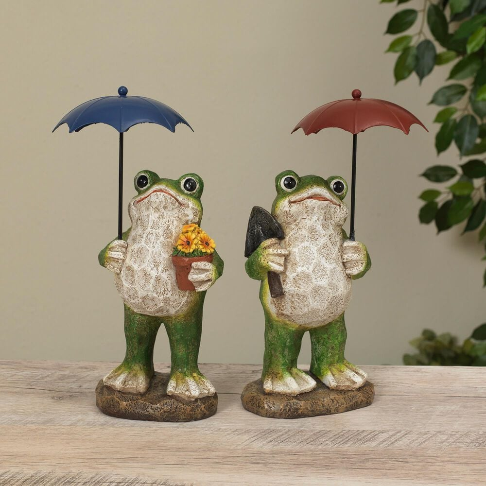 """The Gerson Company 10.6"""" Frog Figurine in Green - Set of 2, , large"""