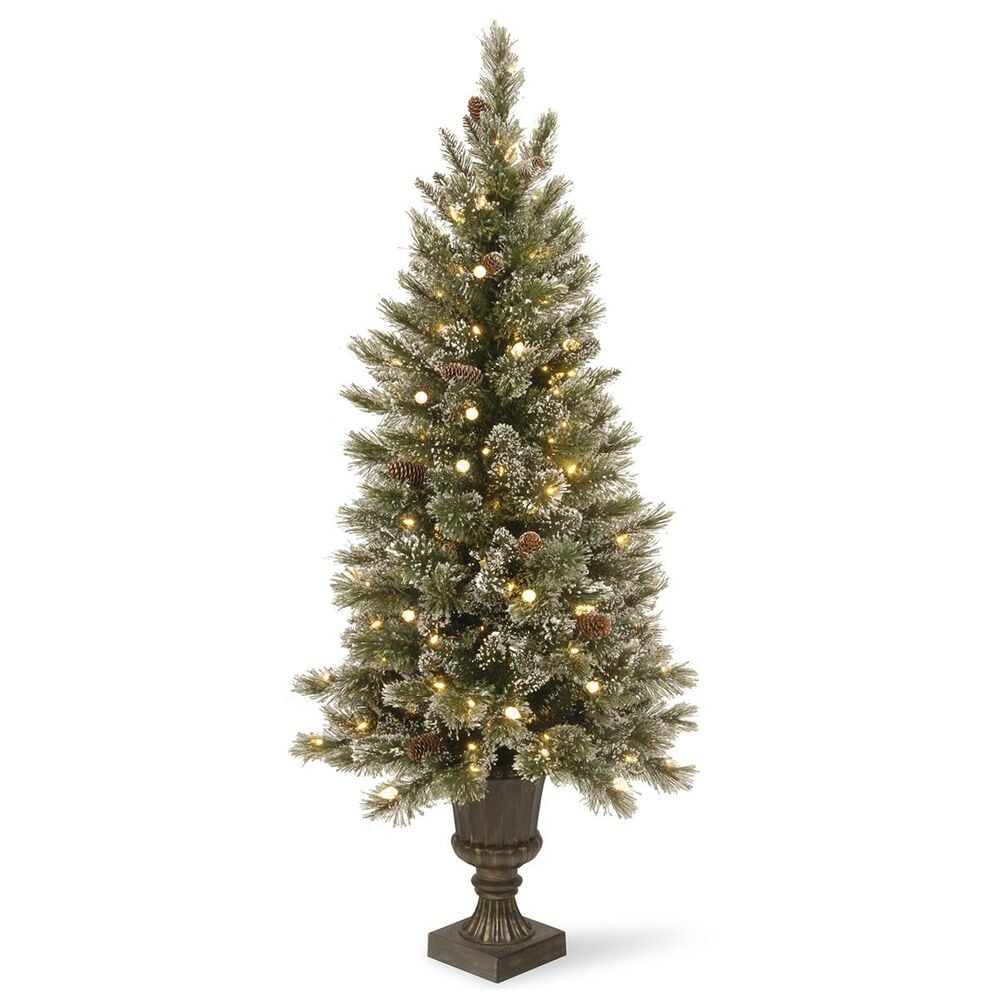 """National Tree 5"""" Glittery Bristle Pine Entrance Tree with 150 Soft White LED Lights, , large"""