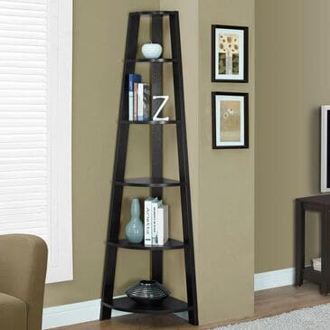 Monarch Specialties 72 in. Corner Accent Etagere in Cappuccino, , large
